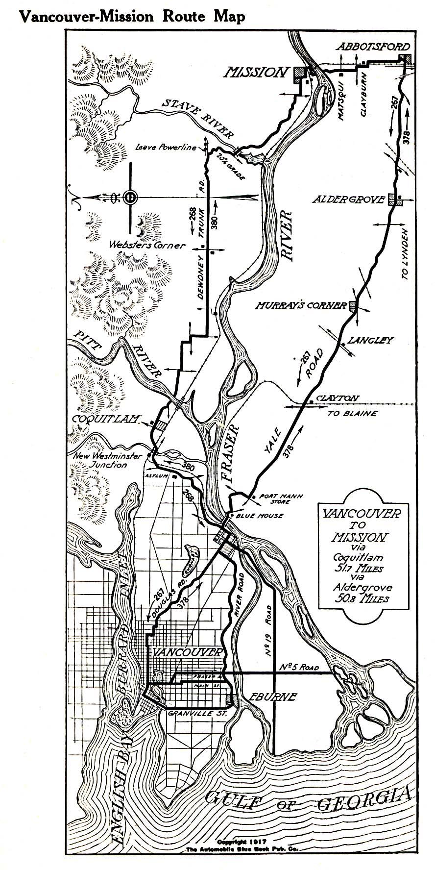 Mapa de la Ruta Vancouver-Misión, Columbia Británica, Canadá 1917