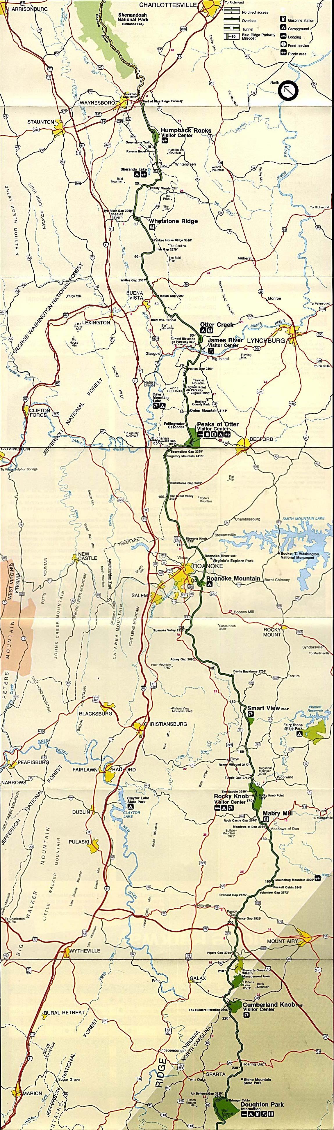 Mapa de la Sección Norte de Blue Ridge Parkway, Virginia / Carolina del Norte, Estados Unidos