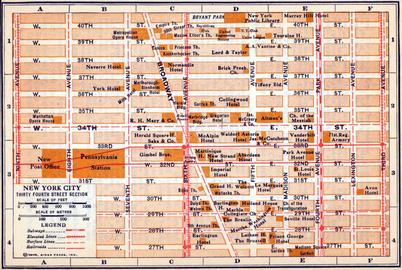 Mapa de la Sección de la Calle 34, Ciudad de Nueva York, Nueva York, Estados Unidos 1916