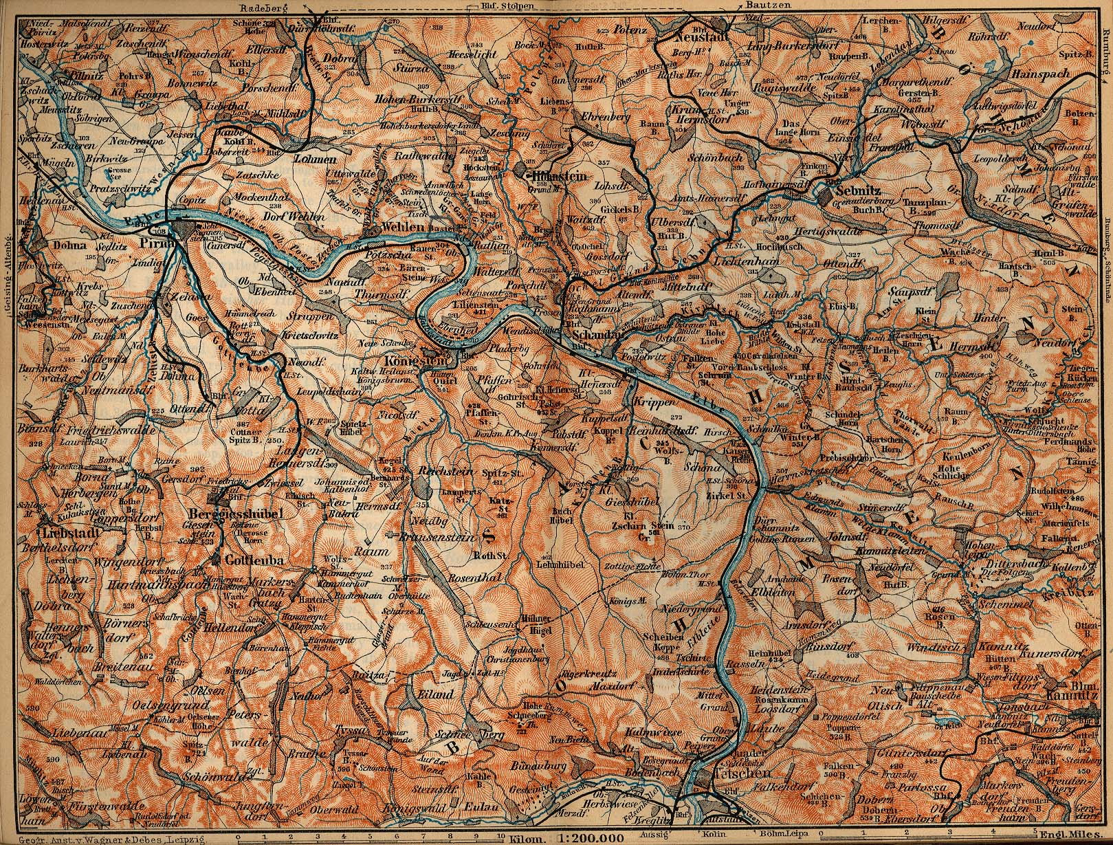 Mapa de la Suiza Sajona, Alemania 1910