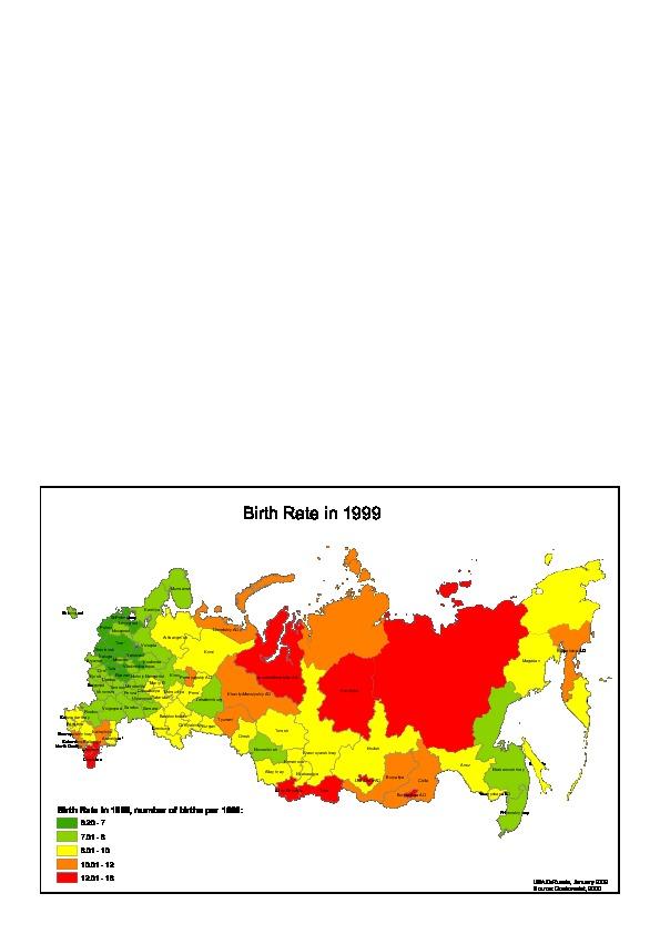 Mapa de la Tasa de Natalidad en Rusia