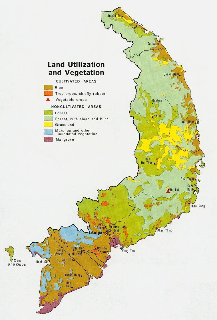 Mapa de la Vegetación y del Uso de la Tierra del Ex Vietnam del Sur 1972