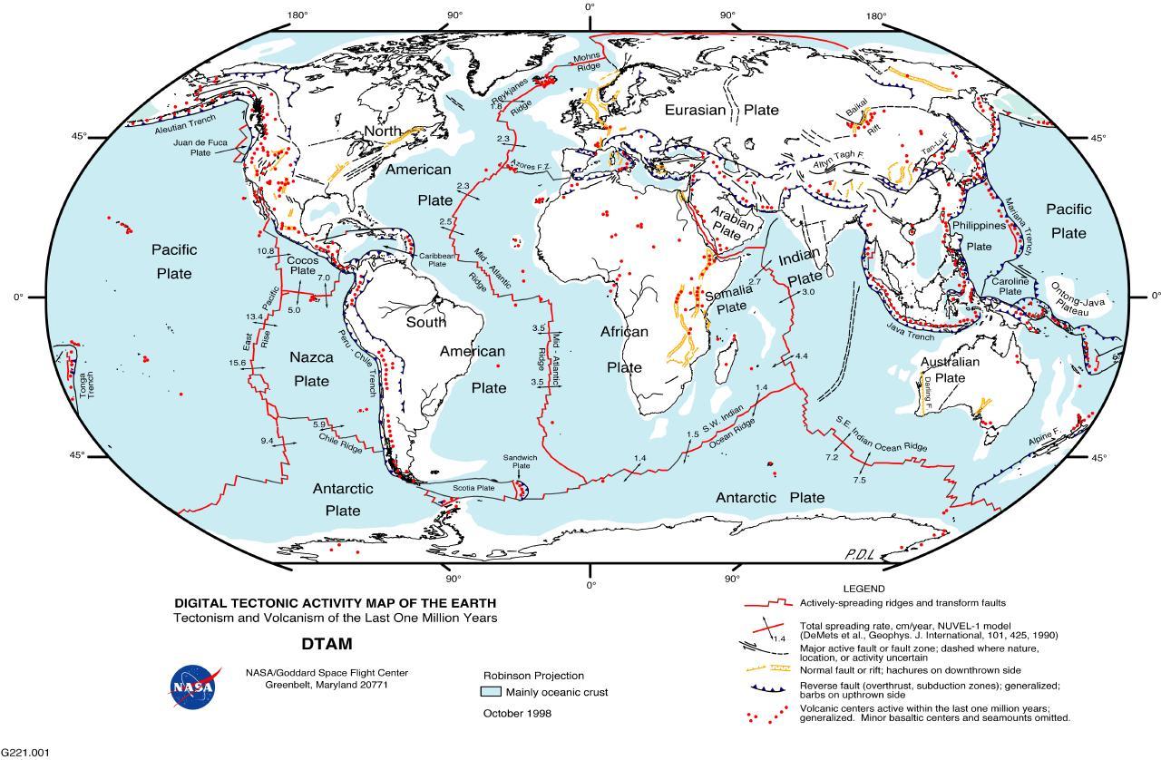 Mapa de la actividad tectónica del mundo 1998