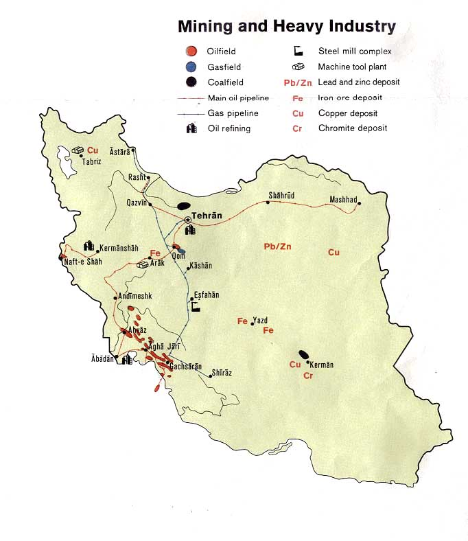 Iran Mining and Heavy Industry Map