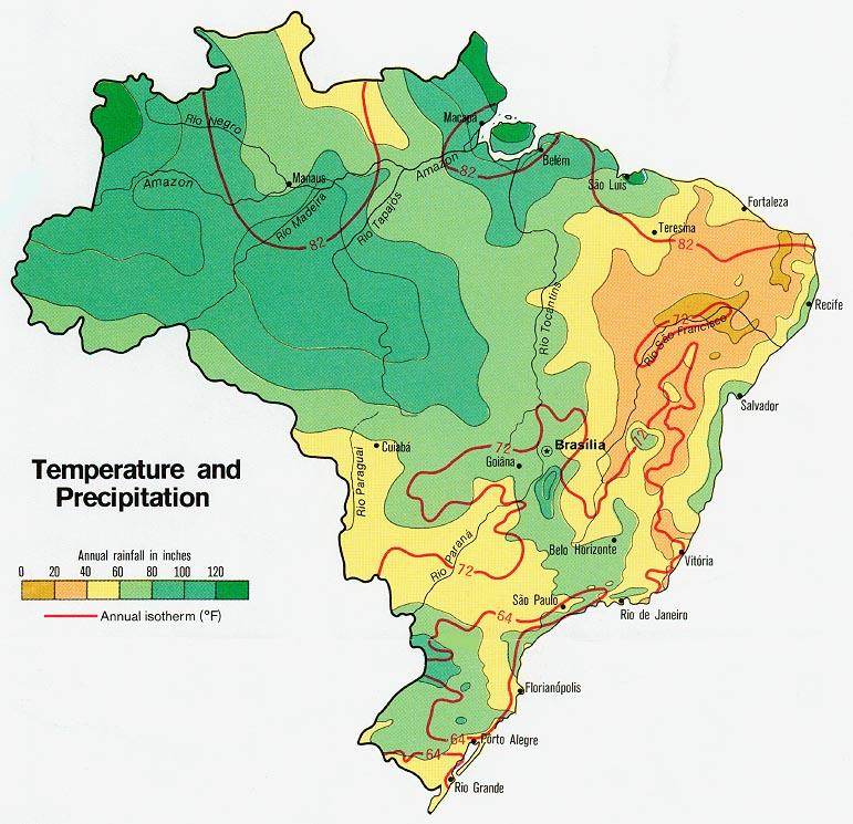 Mapa de la temperatura y la Precipitación de Brasil