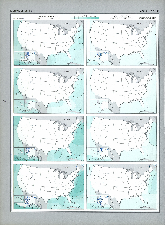 Mapa de las Altura de las Olas, Estados Unidos