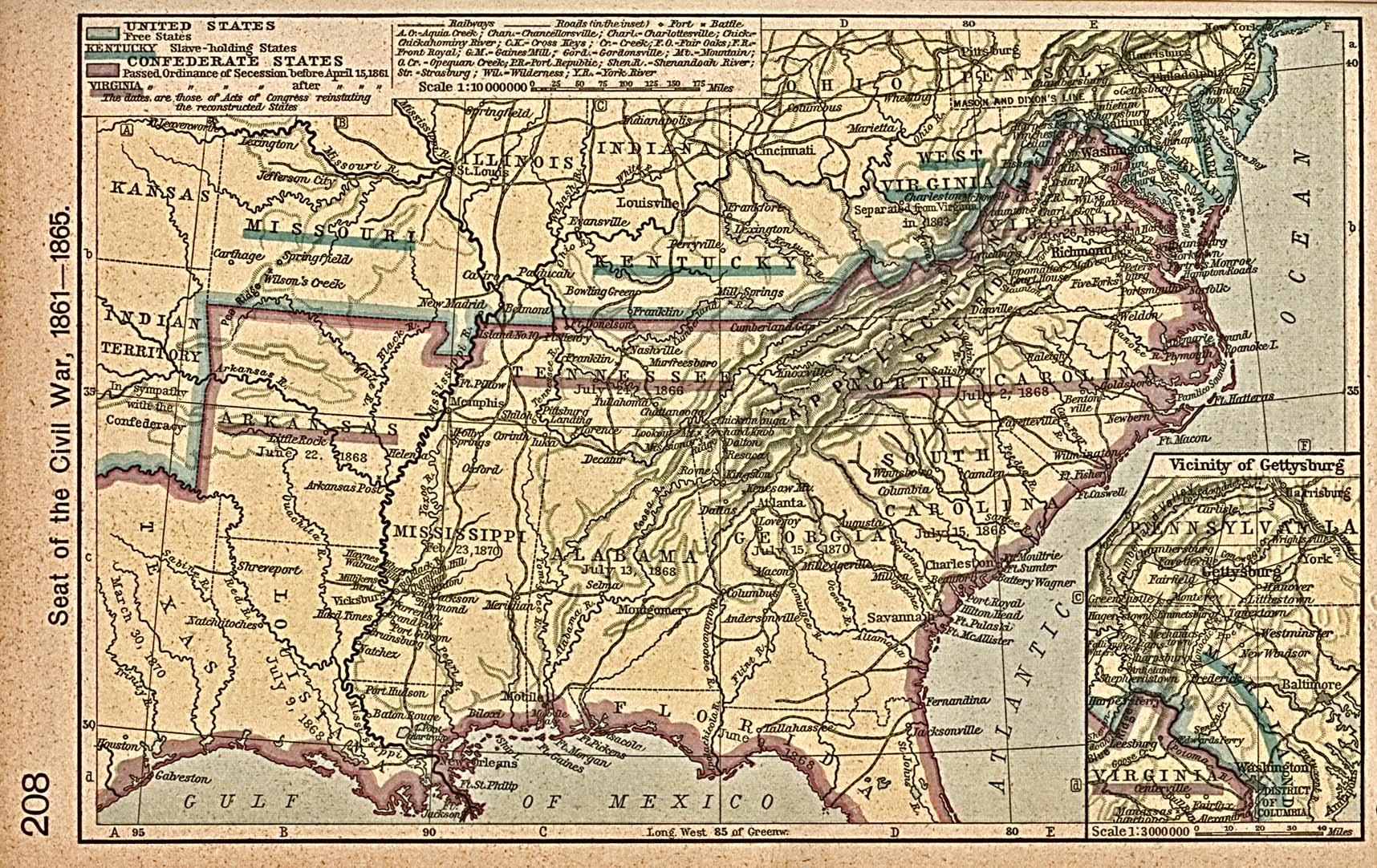 Map of of the Seat of the American Civil War 1861 - 1865 - mapa.owje.com