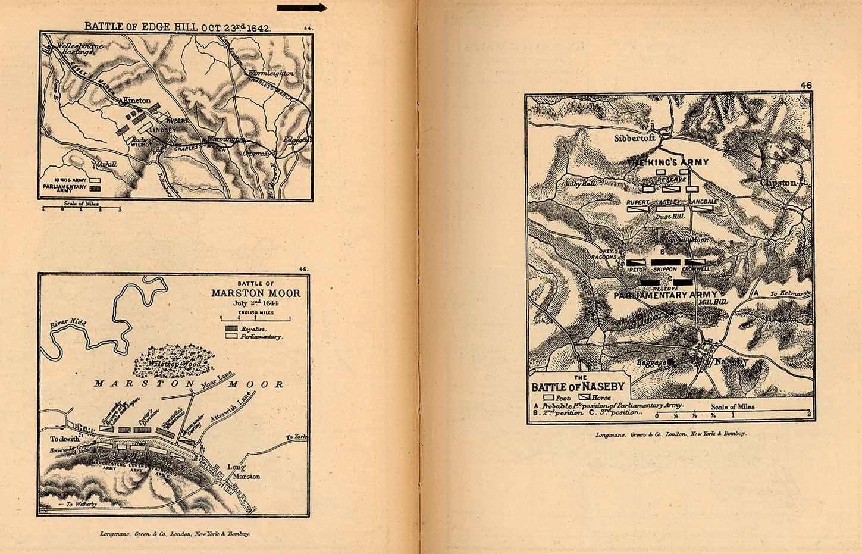 Mapa de las Batallas de Edge Hill, Marston Moor y Naseby