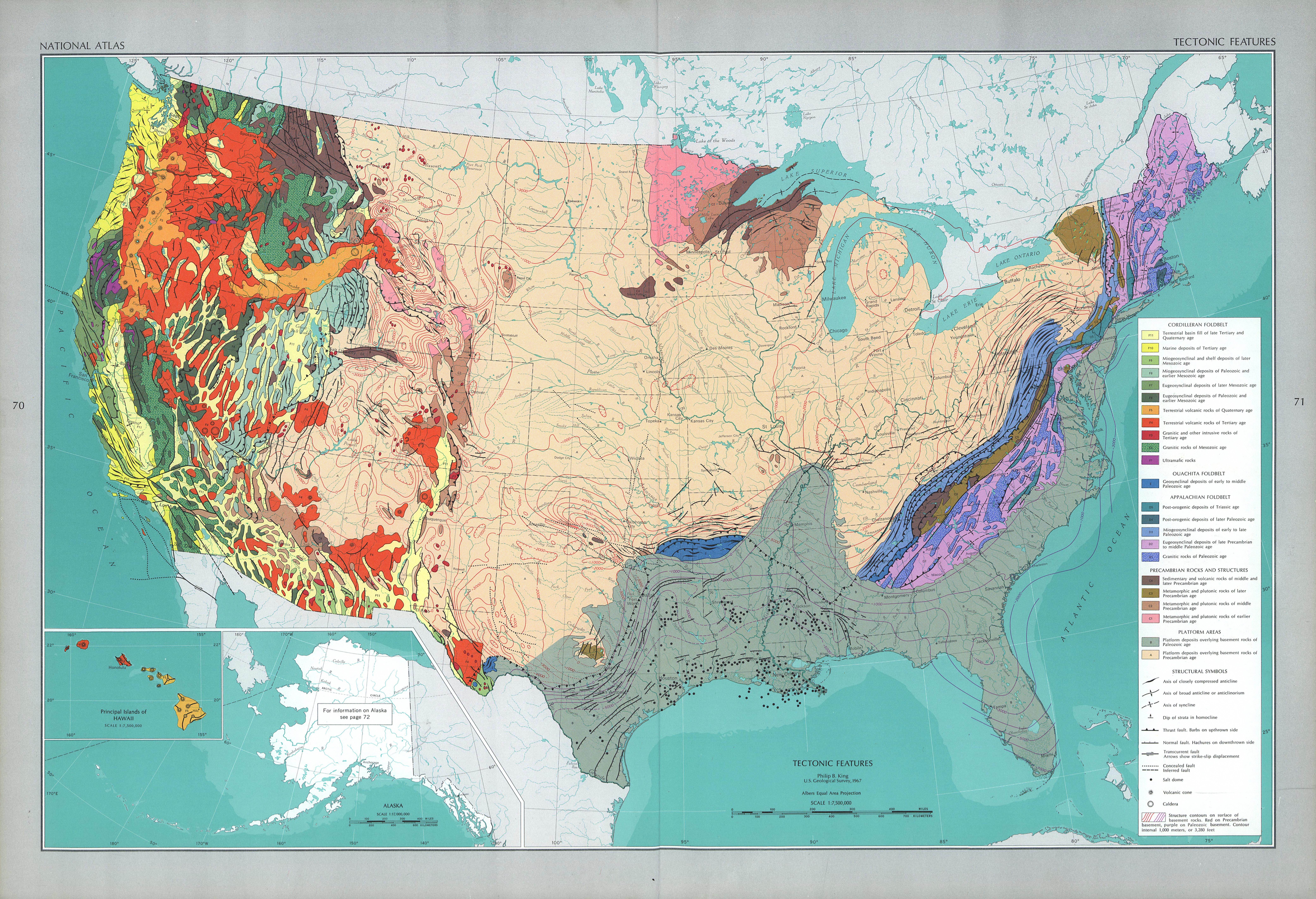 Mapa de las Características Tectónicas de Estados Unidos