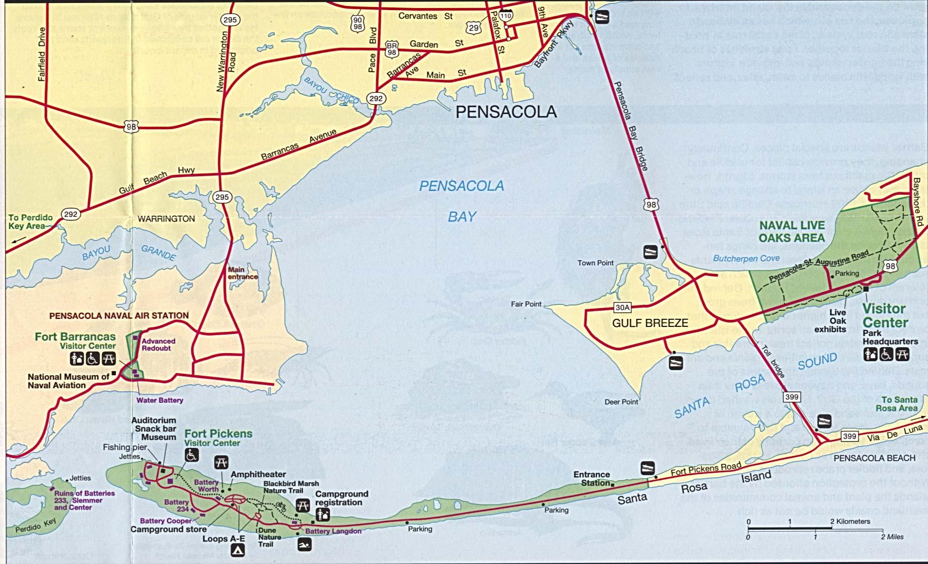 Mapa de las Características de la Región de Pensacola Bay, Florida, Estados Unidos