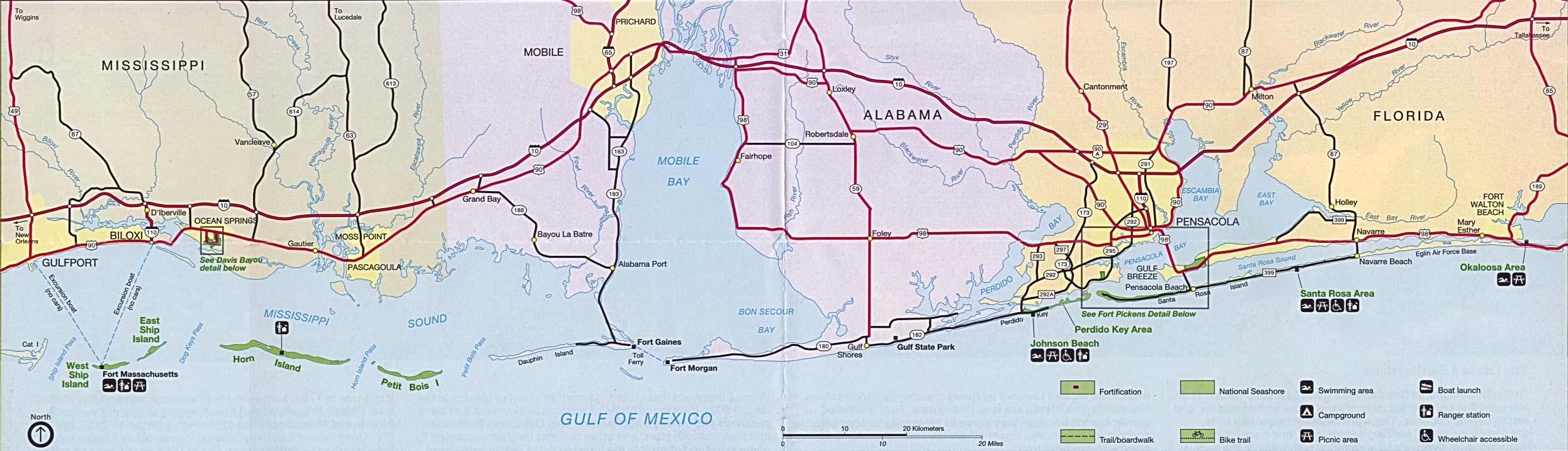 Mapa de las Características de la Región del Golfo de México, Misisipi / Alabama / Florida, Estados Unidos