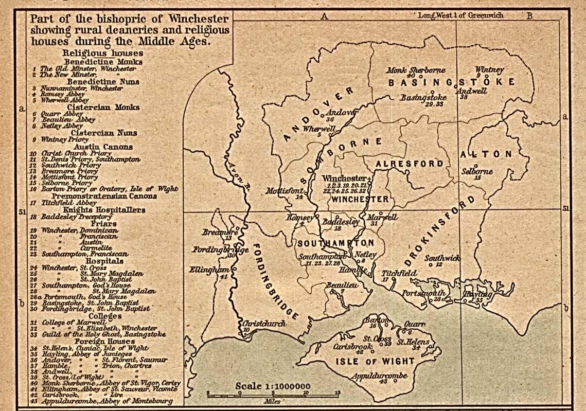 Mapa de las Casas Eclesiásticas Rurales en la Región de Winchester en la Edad Media