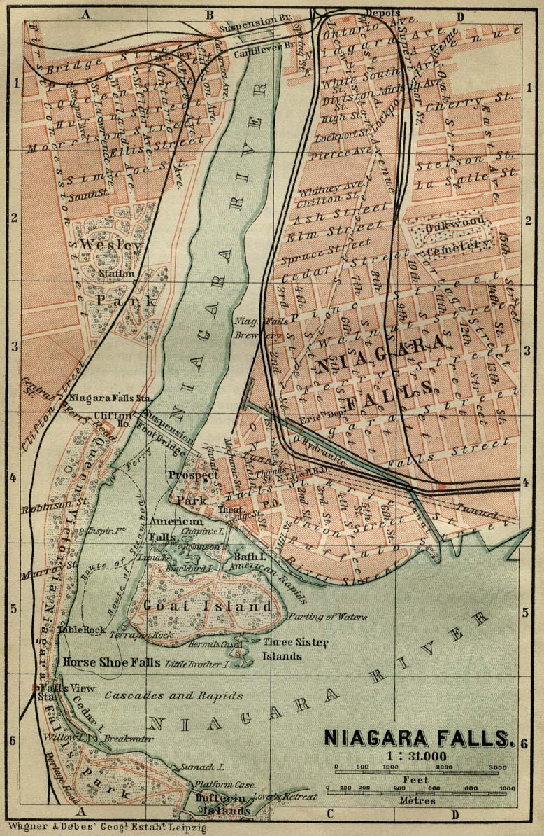 Maps Of Niagara Falls Map United States Canada 1894