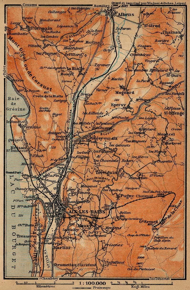 Mapa de las Cercanías de Aix-les-Bains, Francia 1914