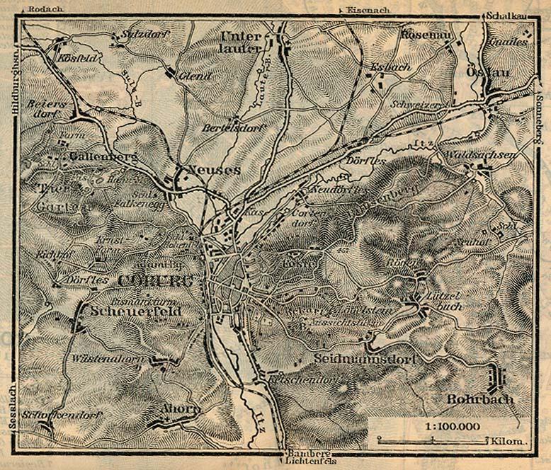 Mapa de las Cercanías de Coburgo, Alemania 1910