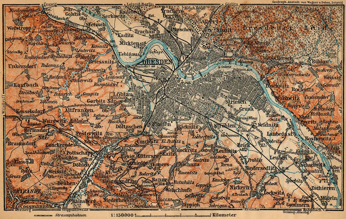 Environs of Dresden Map, Germany 1910