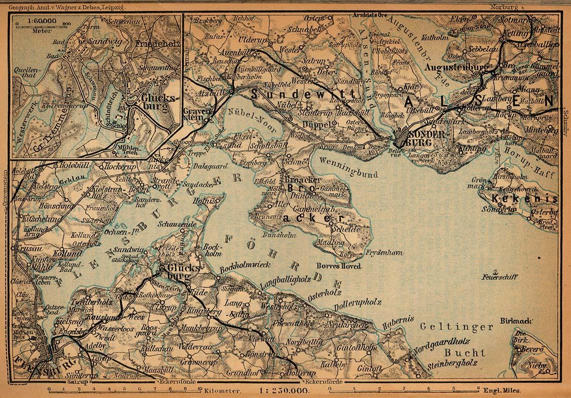 Mapa de las Cercanías de Flensburgo, Alemania 1910