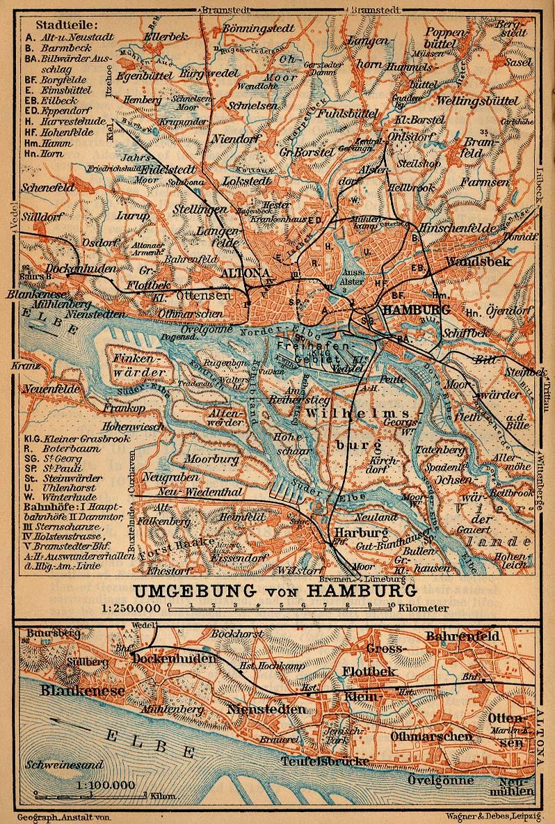 Mapa de las Cercanías de Hamburgo, Alemania 1910