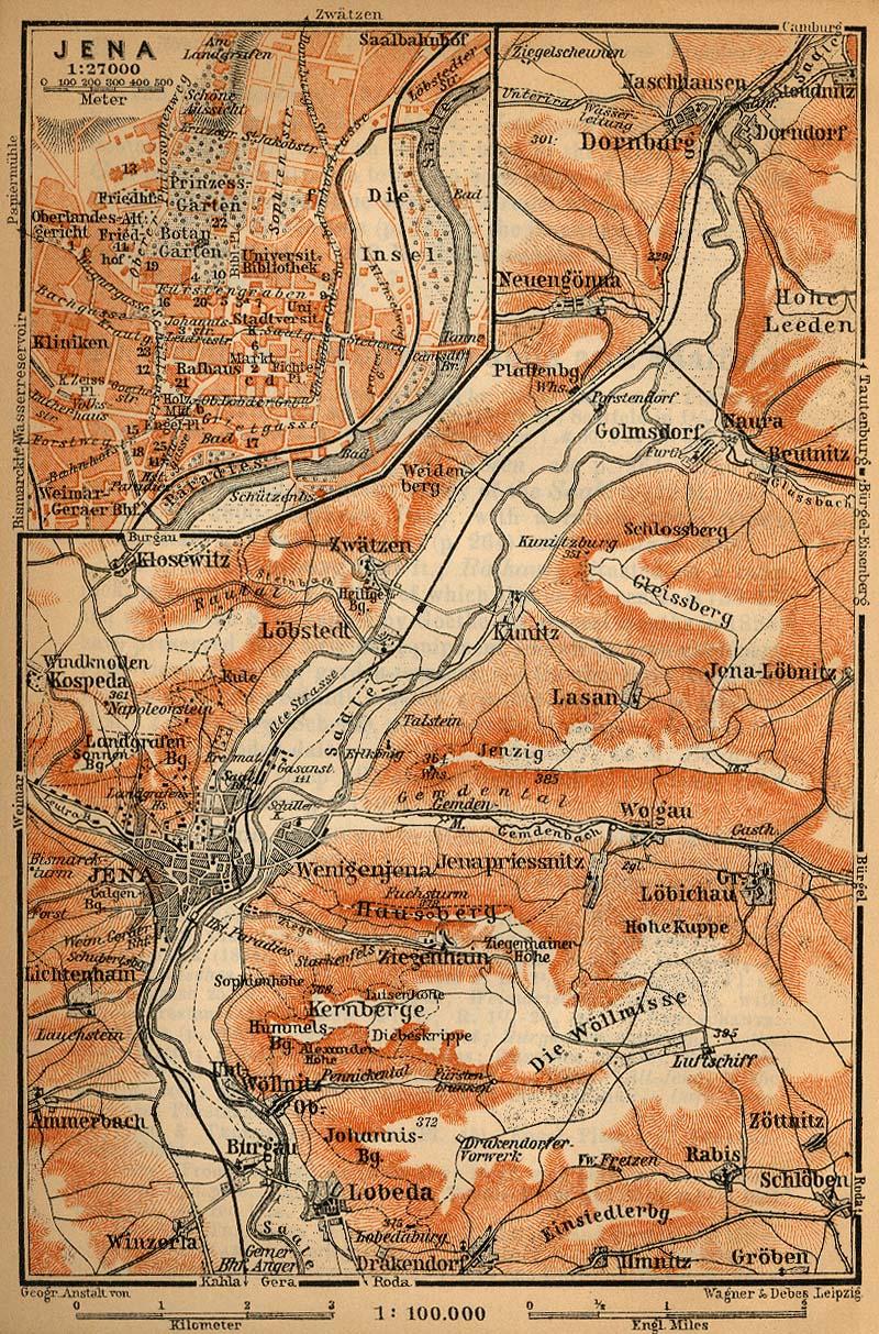 Mapa de las Cercanías de Jena, Alemania 1910