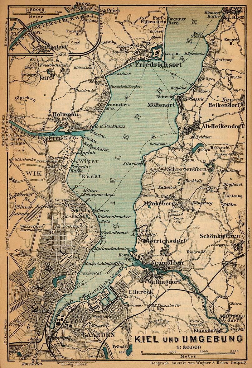 Mapa de las Cercanías de Kiel, Alemania 1910