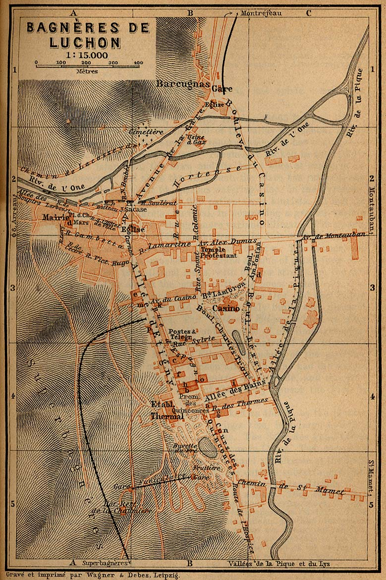 Mapa de las Cercanías de Luchon y the Monts Maudits, Francia 1914