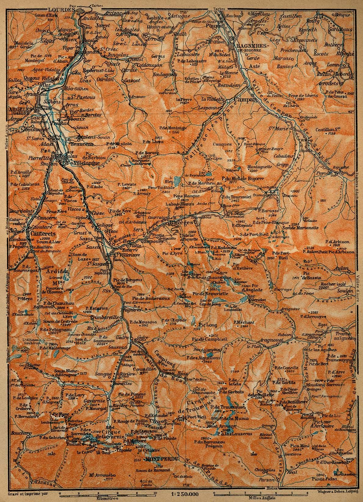 Mapa de las Cercanías de Luz-St-Sauveur, Barèges y Gavarnie, Francia 1914