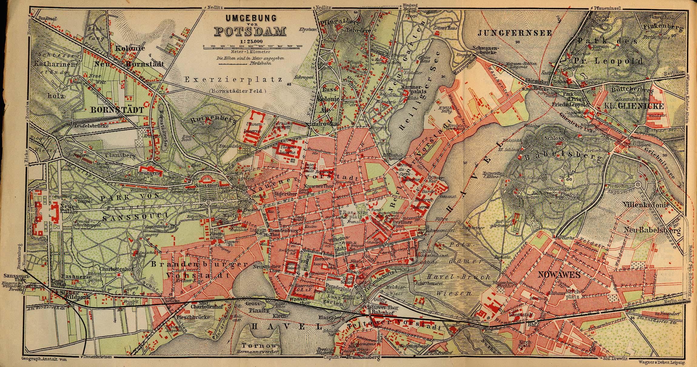 Mapa de las Cercanías de Potsdam, Alemania 1910