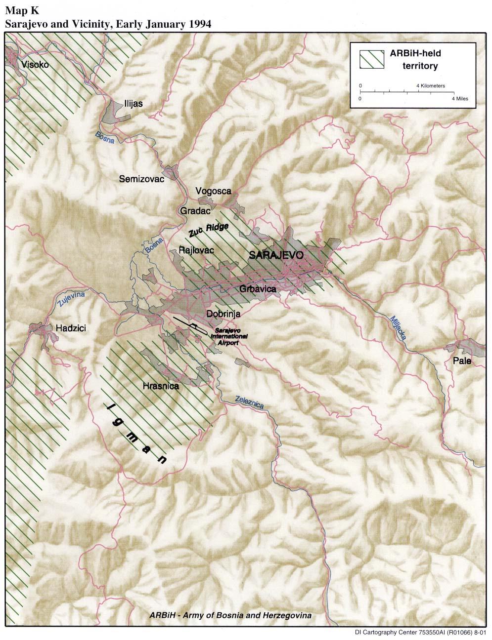 Mapa de las Cercanías de Sarajevo, Enero 1994