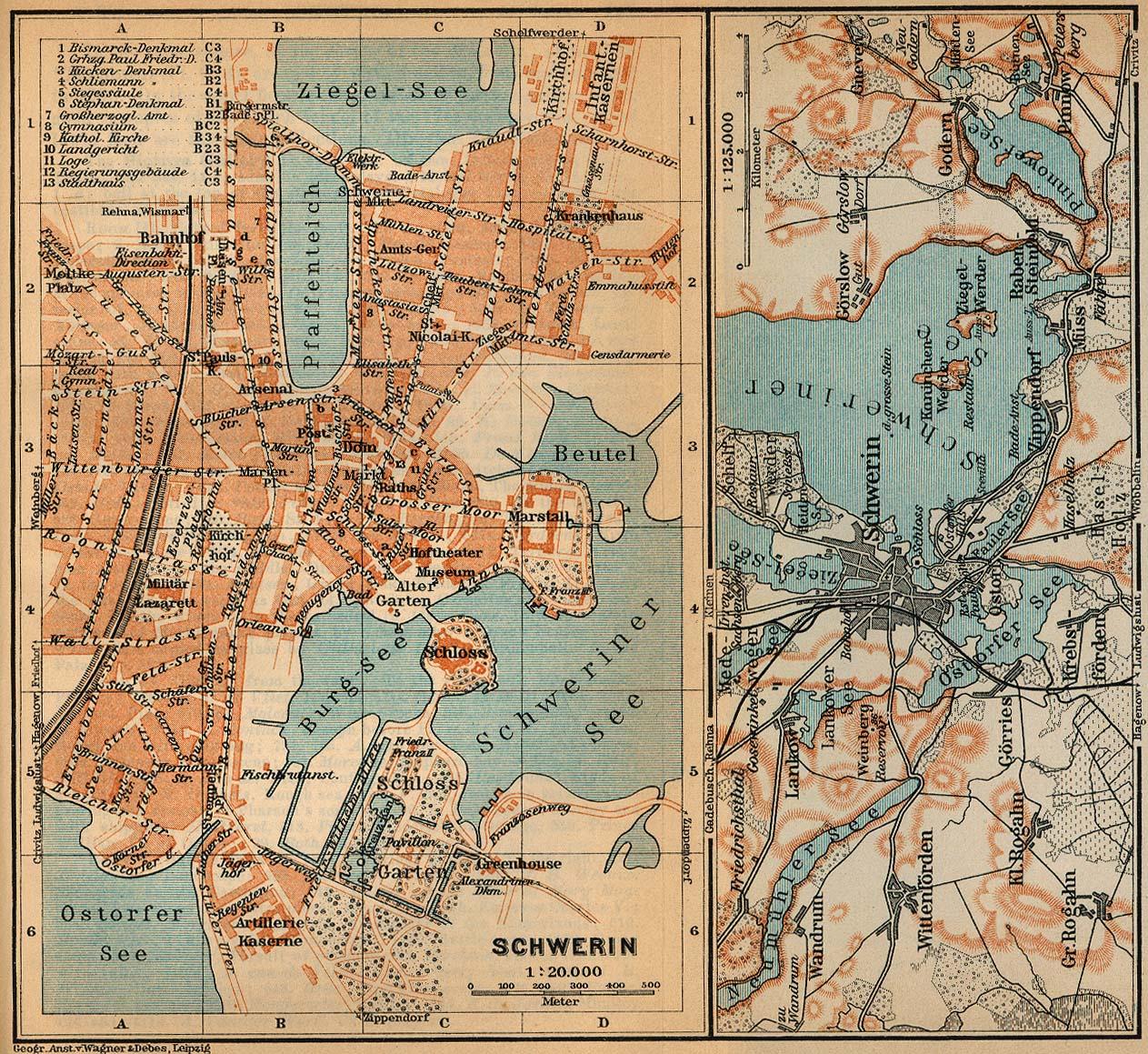 Mapa de las Cercanías de Schwerin, Alemania 1910