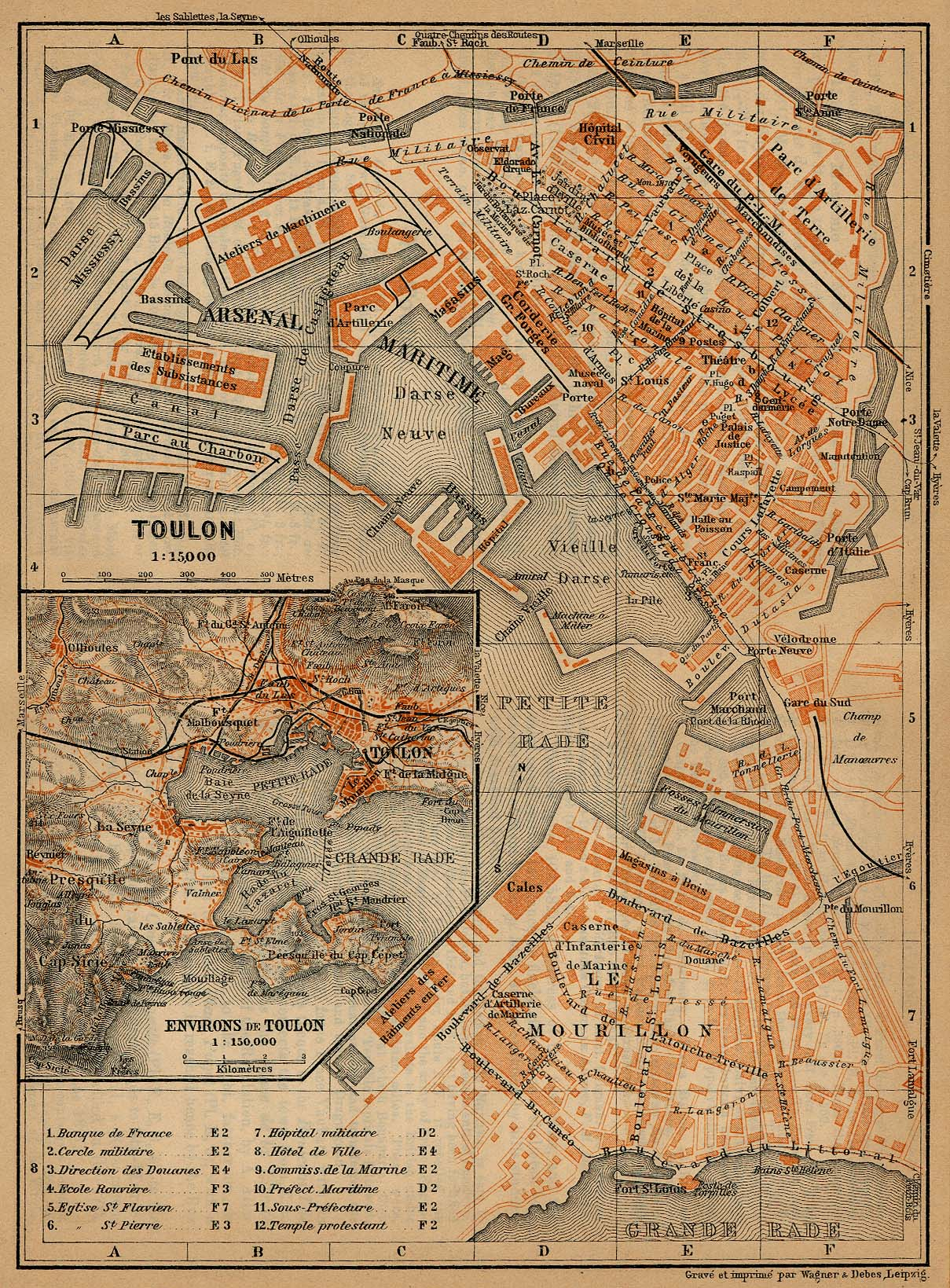Mapa de las Cercanías de Tolón, Francia 1914