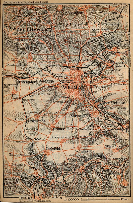 Mapa de las Cercanías de Weimar, Alemania 1910