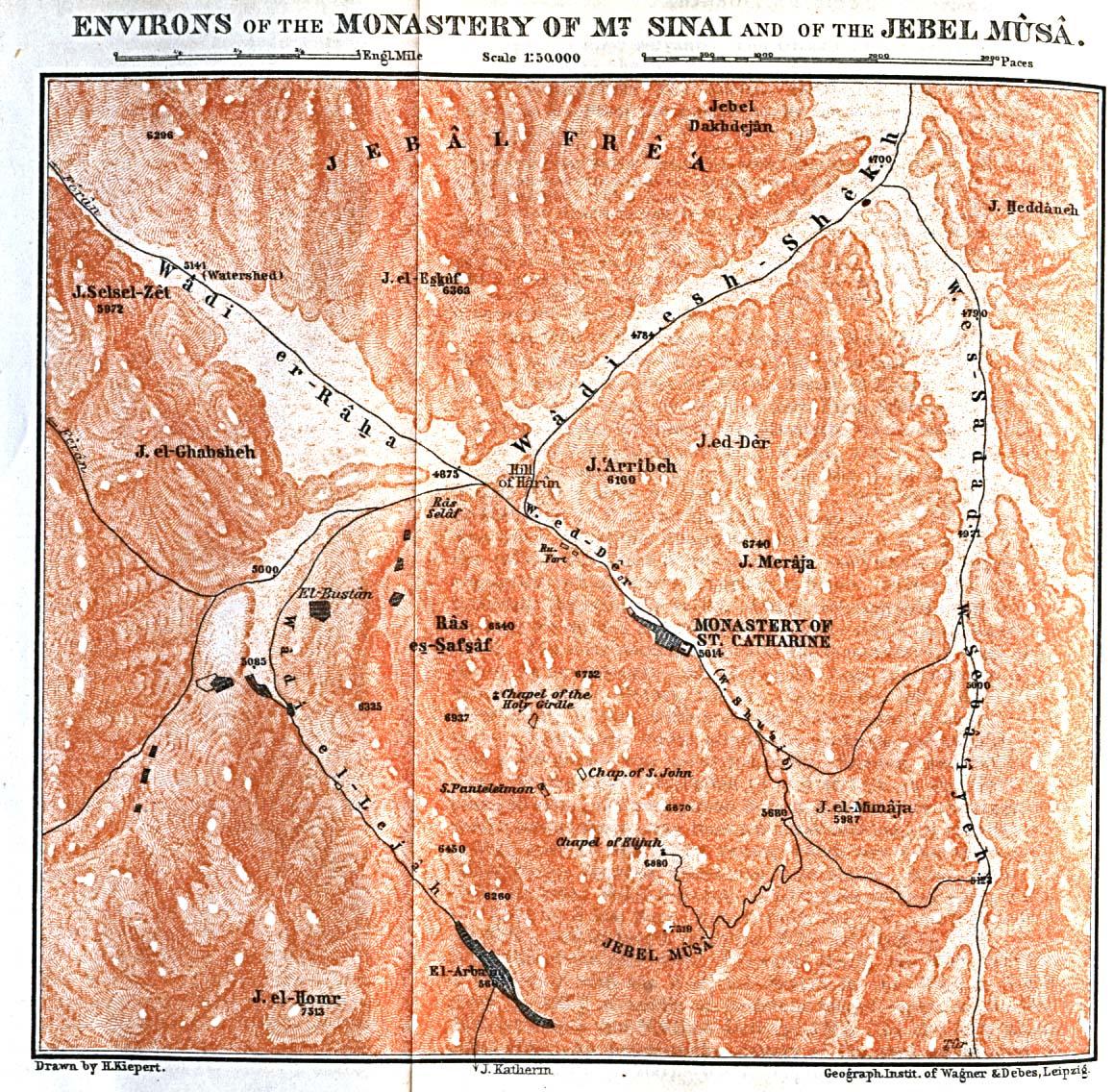 Mapa de las Cercanías del Monasterio de Santa Catalina del Monte Sinaí, Egipto 1912