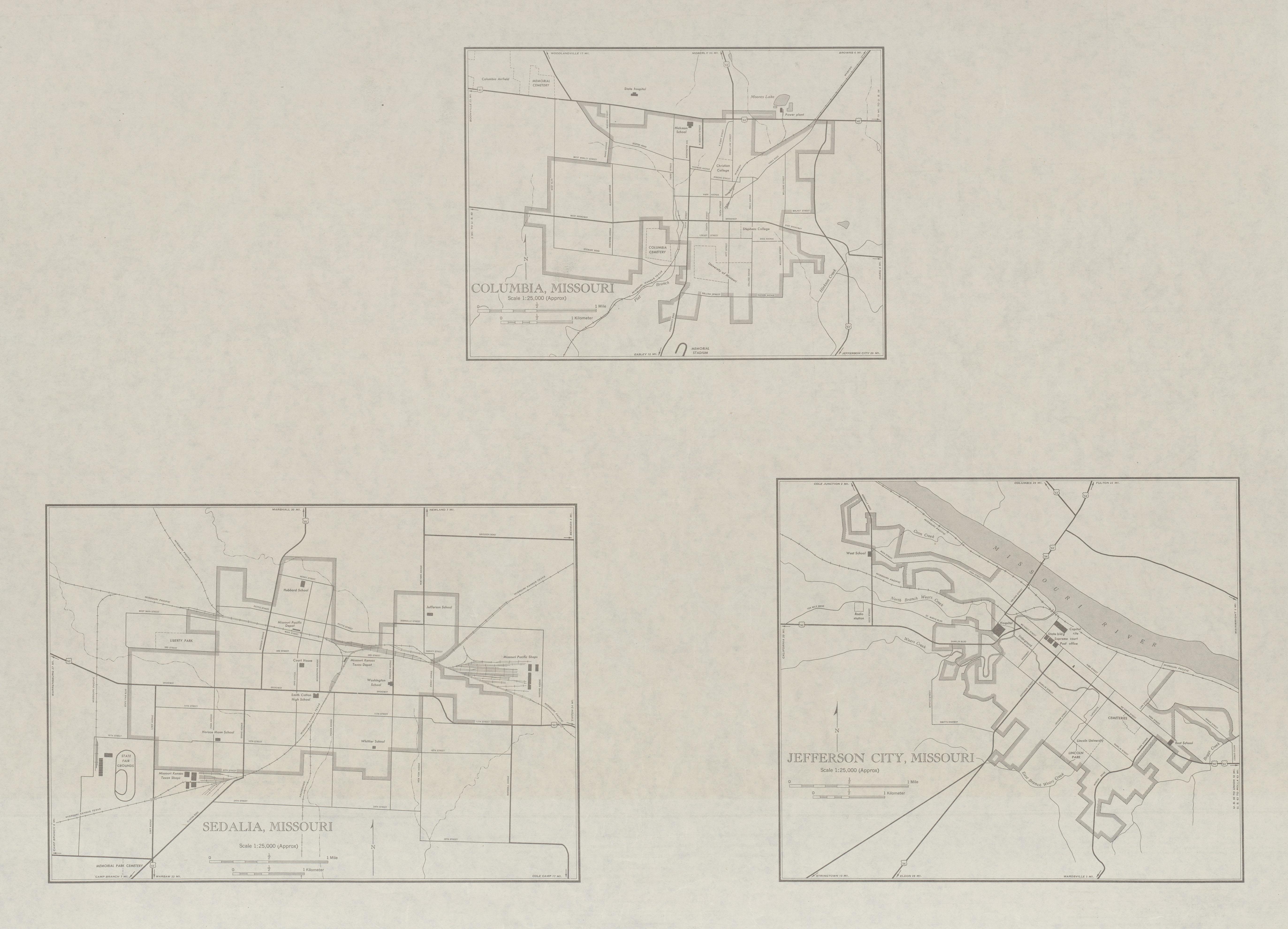 Mapa de las Ciudades de Columbia, Sedalia, Jefferson City, Missouri, Estados Unidos 1947