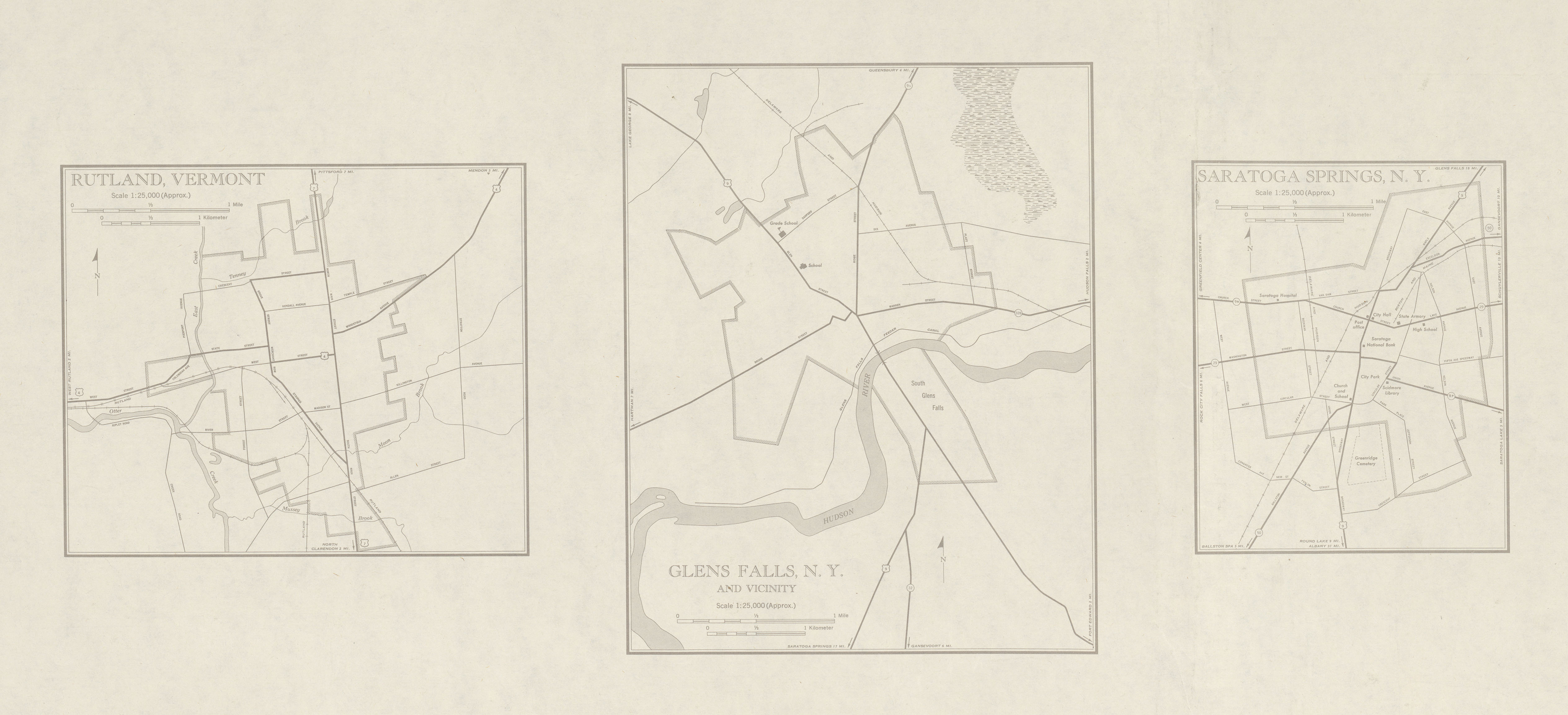 City Maps of Glens Falls, Saratoga Springs, New York and Rutland, Vermont, United States 1948