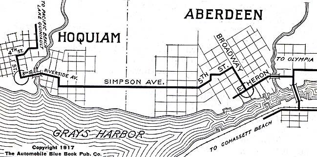 Hoquiam and Aberdeen City Map, Washington, United States 1917