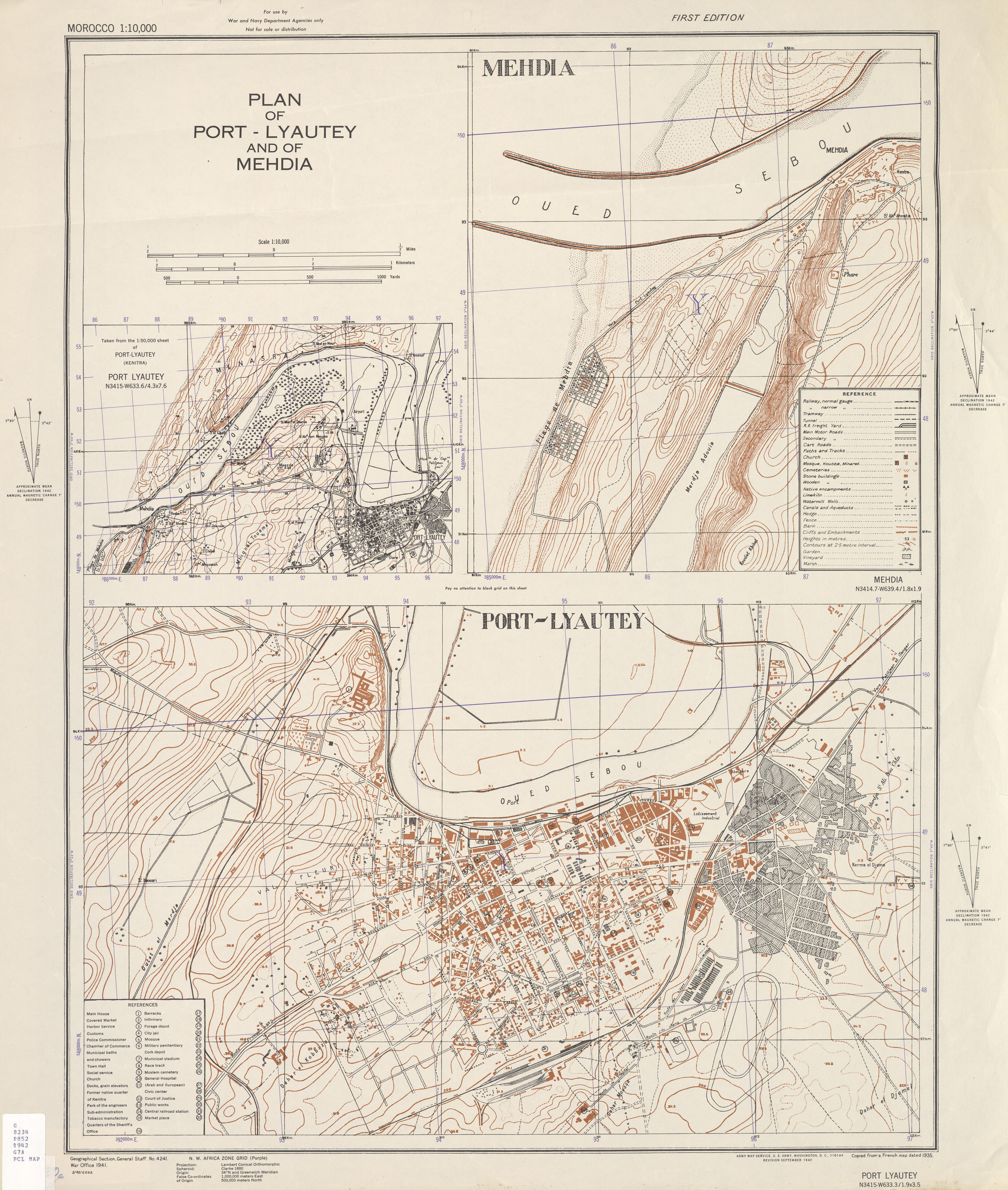 Mapa de las Ciudades de Kenitra (Port Lyautey) y Mehdia, Marruecos 1942