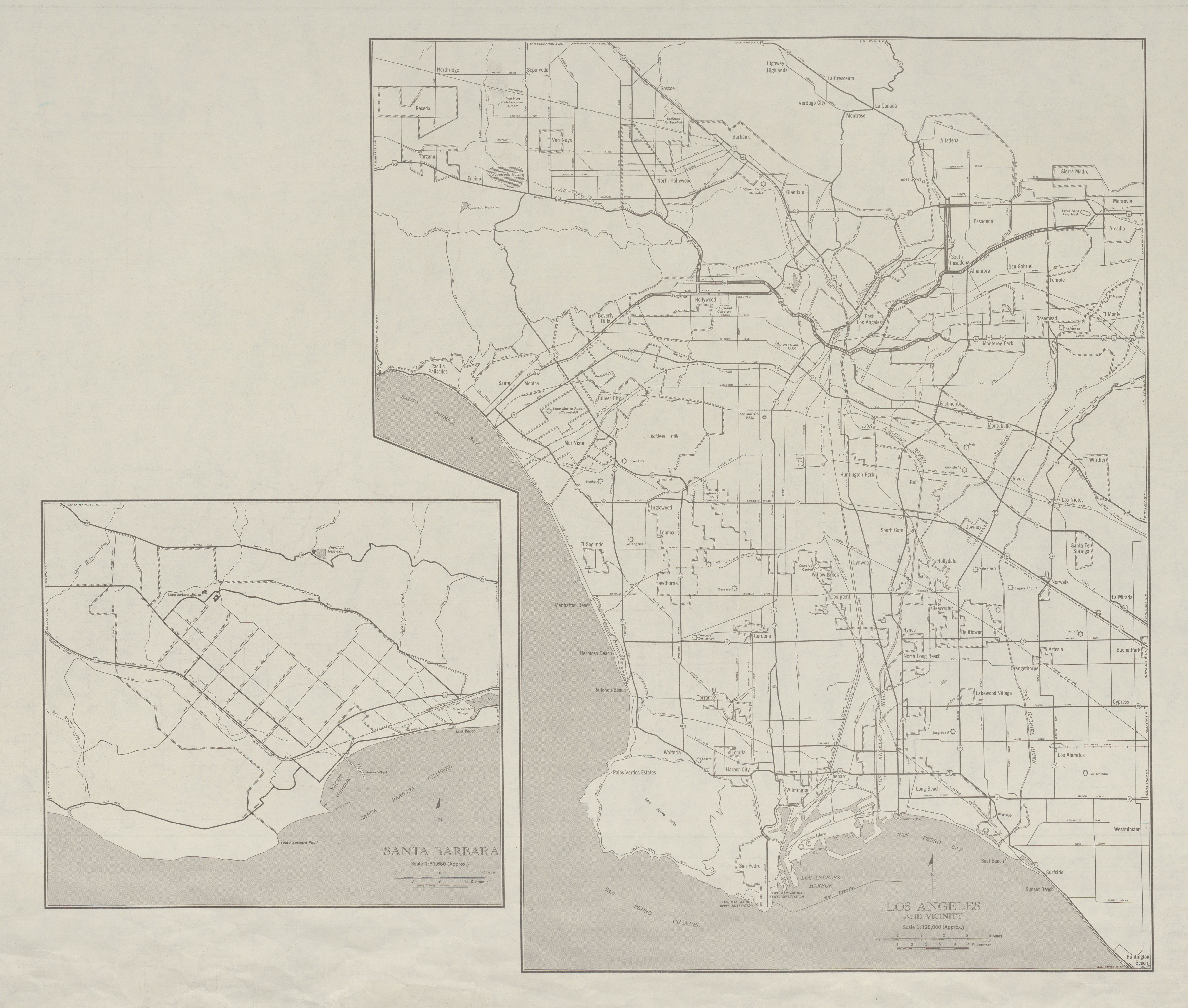 City Maps of Los Angeles, Santa Barbara and Vicinity, California, United States 1947