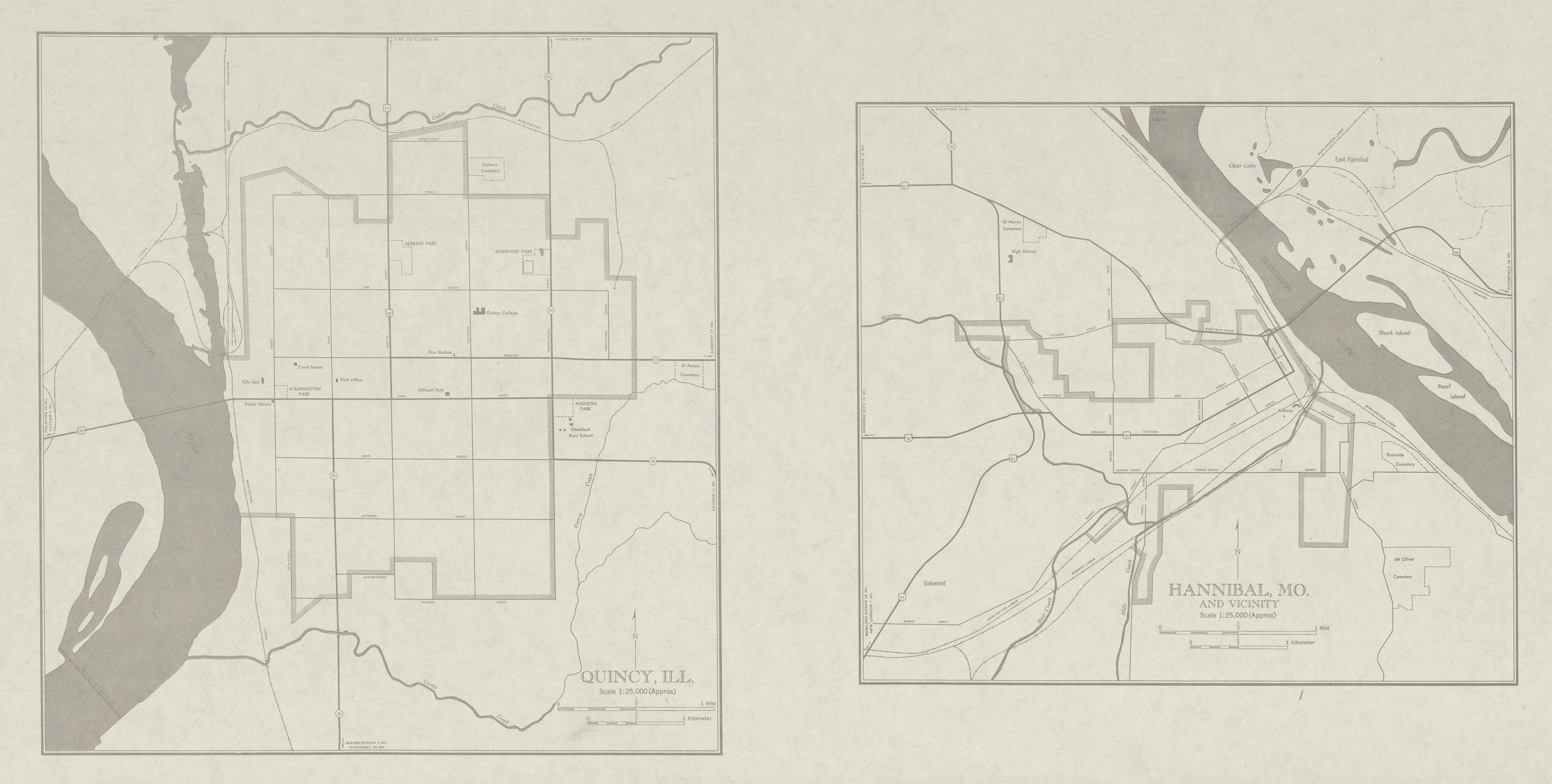 Mapa de las Ciudades de Quincy, Illinois y Hannibal, Missouri, Estados Unidos 1947
