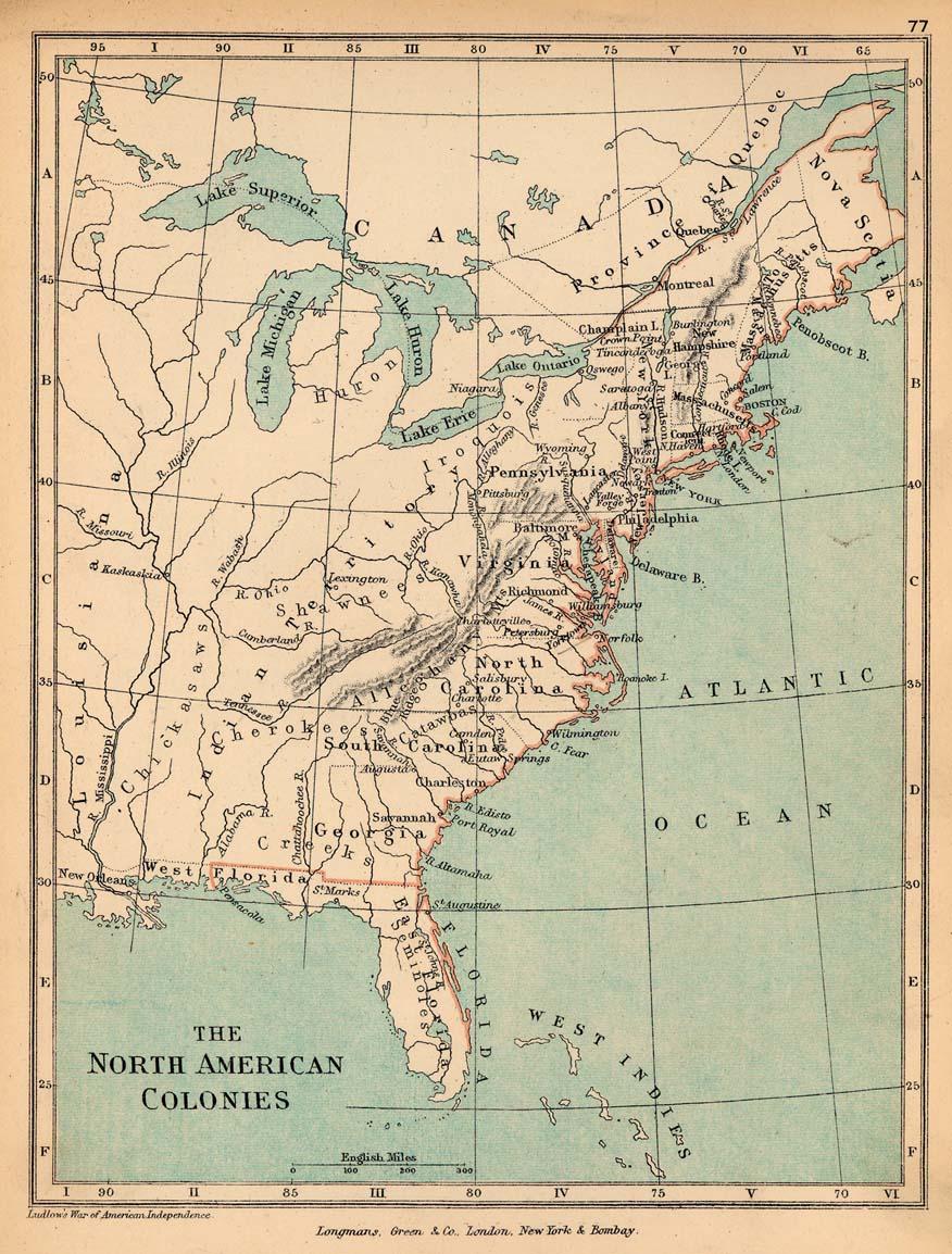 Mapa de las Colonias Europeas en Norte America