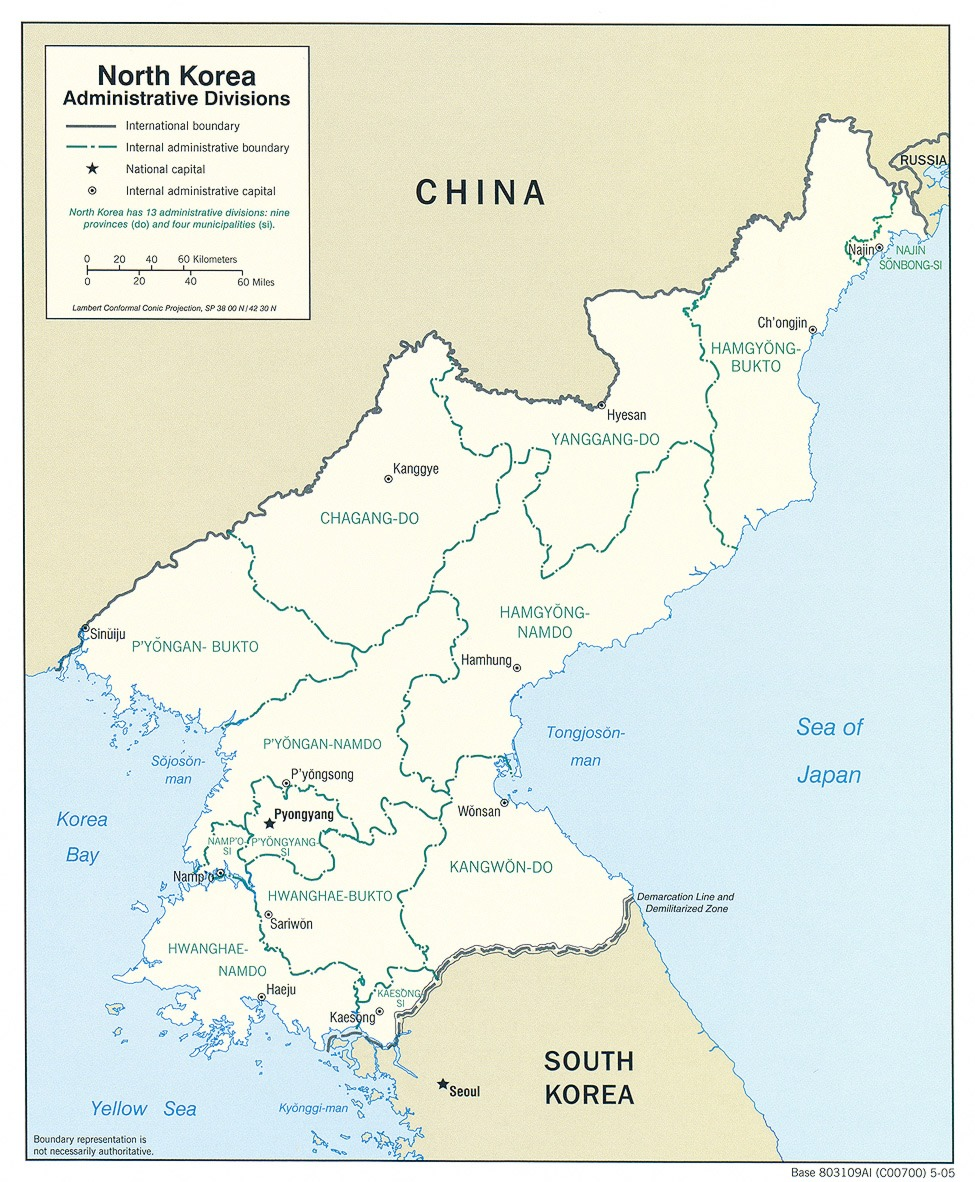 Mapa de las Divisiones Administrativas de Corea del Norte