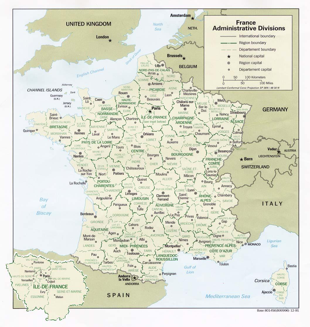 Mapa de las Divisiones Administrativas de Francia