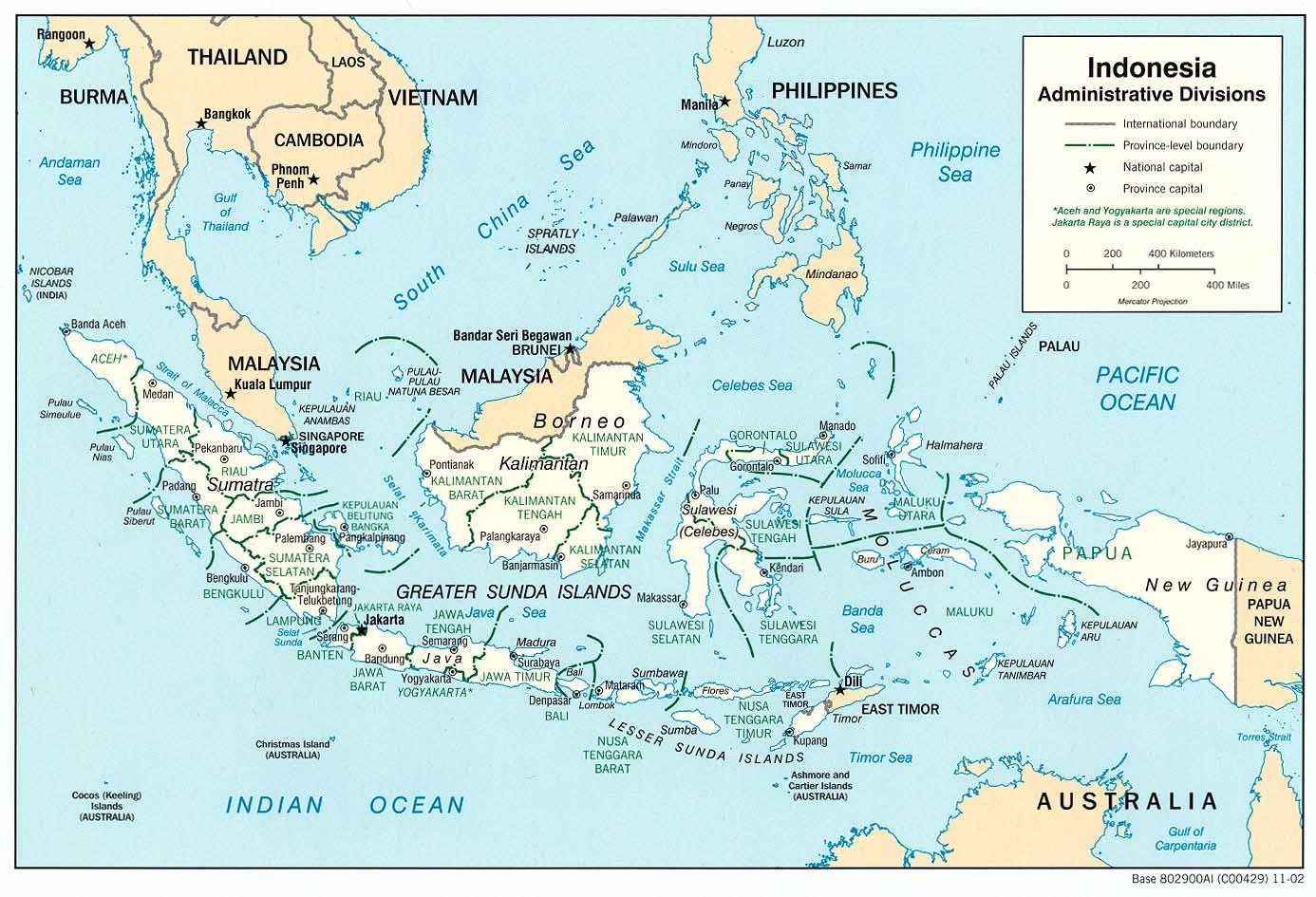 Mapa de las Divisiones Administrativas de Indonesia
