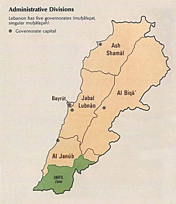 Mapa de las Divisiones Administrativas de Líbano