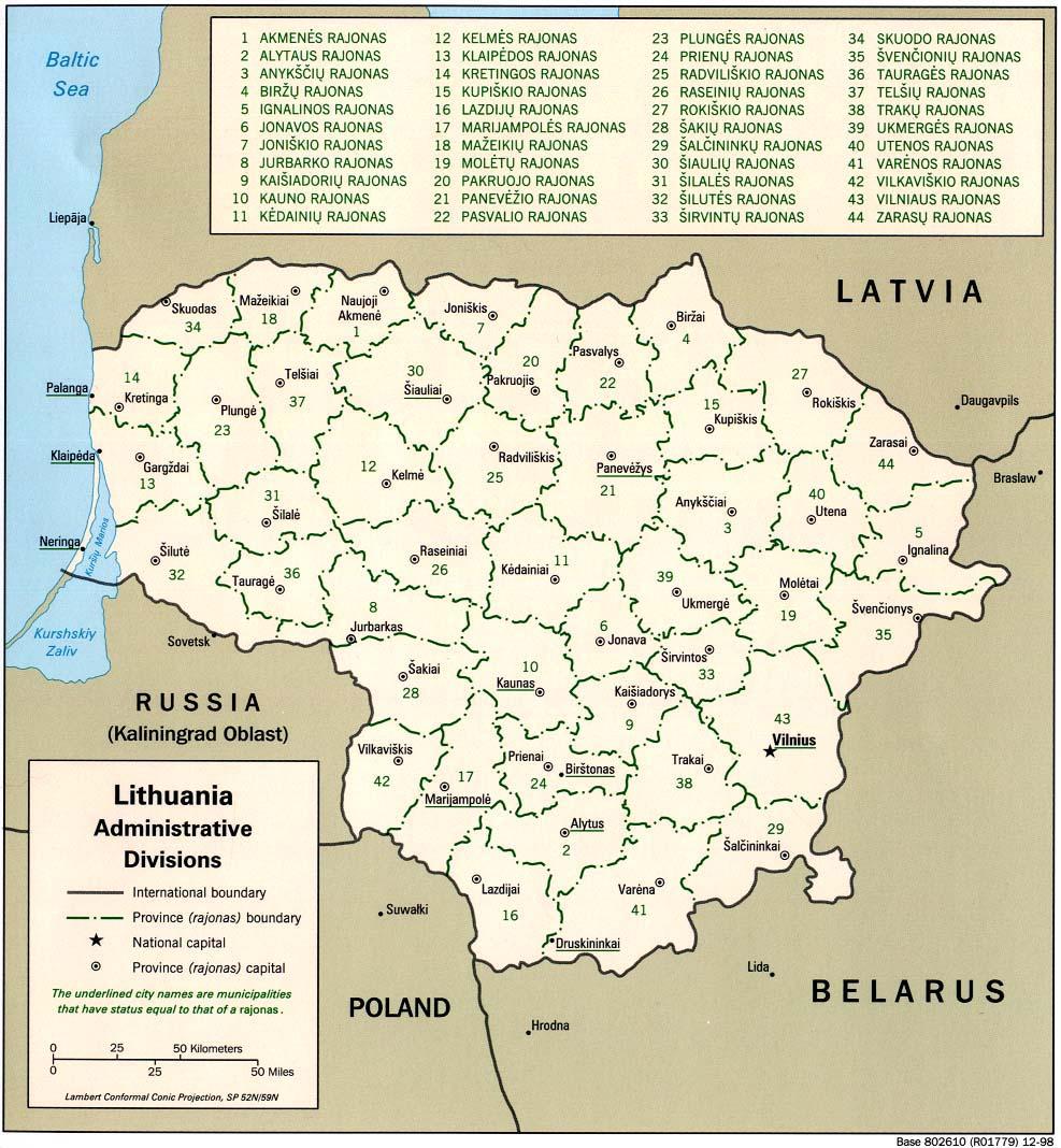 Mapa de las Divisiones Administrativas de Lituania