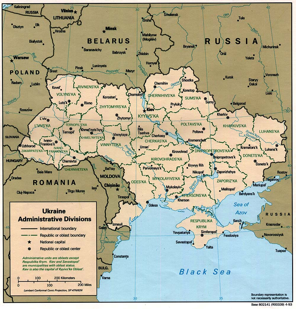 Ukraine Administrative Divisions Map