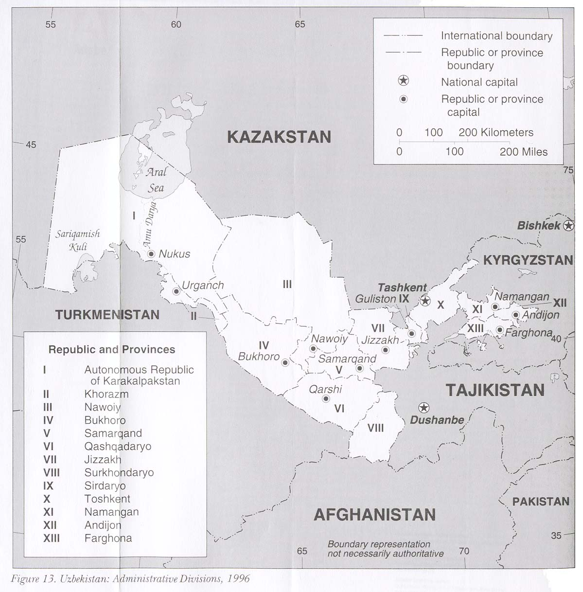 Mapa de las Divisiones Administrativas de Uzbekistán