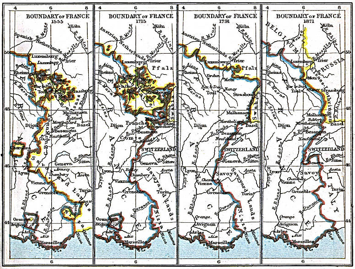 Boundary of France Map 1555 A.D. - 1871
