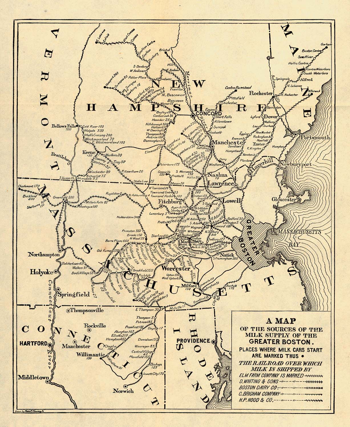 Map of the Sources of the Milk Supply of the Greater Boston, Massachusetts, United States 1901
