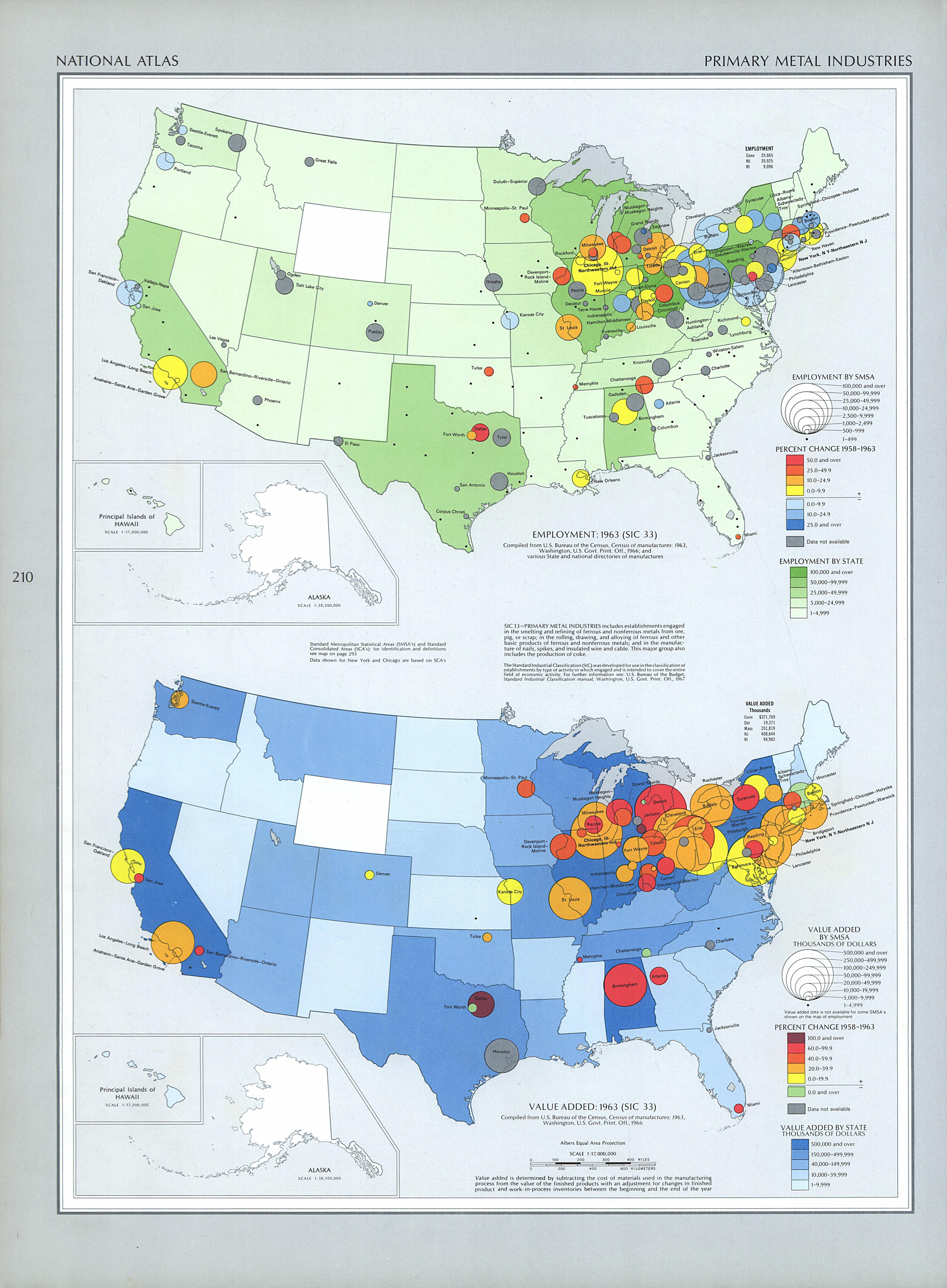 Mapa de las Industrias Metalúrgicas Primaria, Estados Unidos