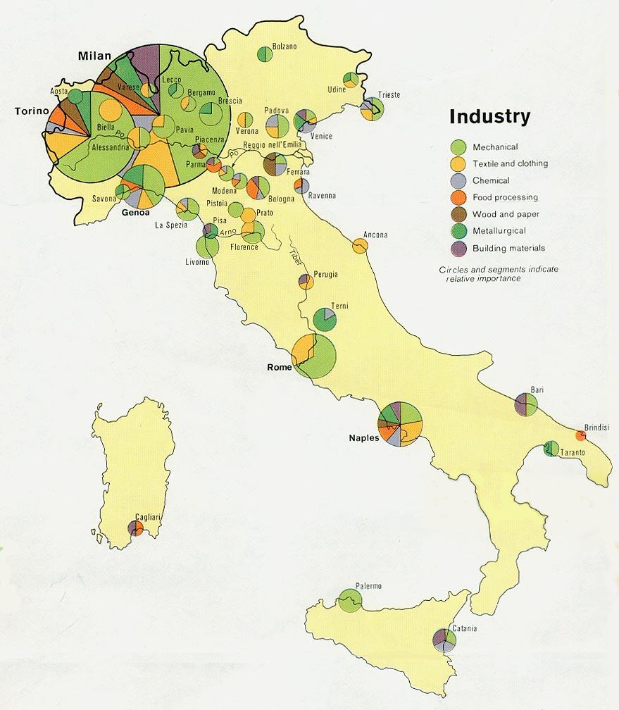 Mapa de las Industrias de Italia